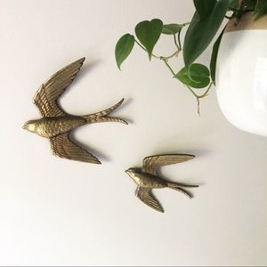 Vintage Burwood Gold Bird Set Wall Boho Decor